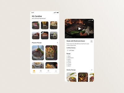 Food Recipes App ui exploration recipe app food recipes app ui design ui designer food app recipe food