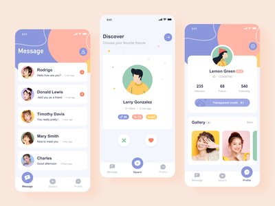 Tochat App Redesign discover message personal icon illustration design app ux ui