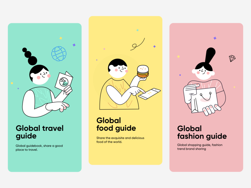 Social Platform Guide Page shopping fashion food travel illustration design app ux ui