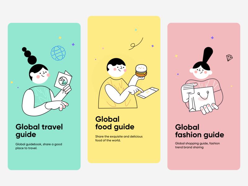 Social Platform Guide Page shopping fashion food travel illustration design app ux ui