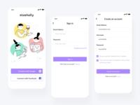 Social Platform Guide Page login shopping food travel icon illustration design app ux ui