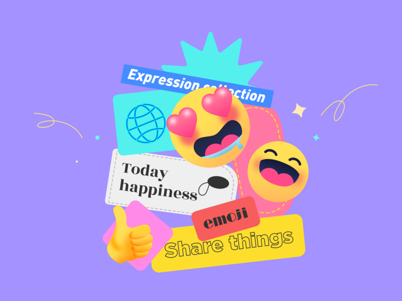 Expression Card share chat travel emoji illustration design app ux ui