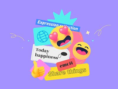 Expression Card share chat travel emoji illustration design app ux ui