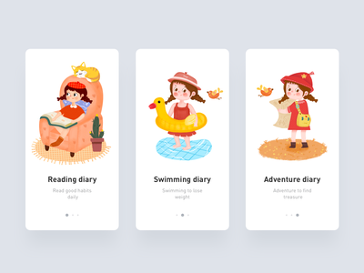 Girl's life diary design illustration app ui