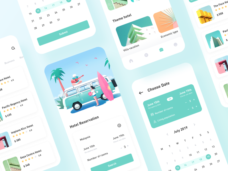 Hotel Reservation plane car calendar travel hotel design illustration icon app ux ui