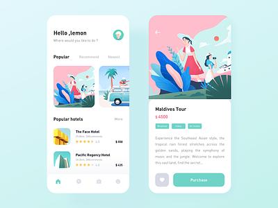 Travel App design car hotel travel illustration icon app ux ui