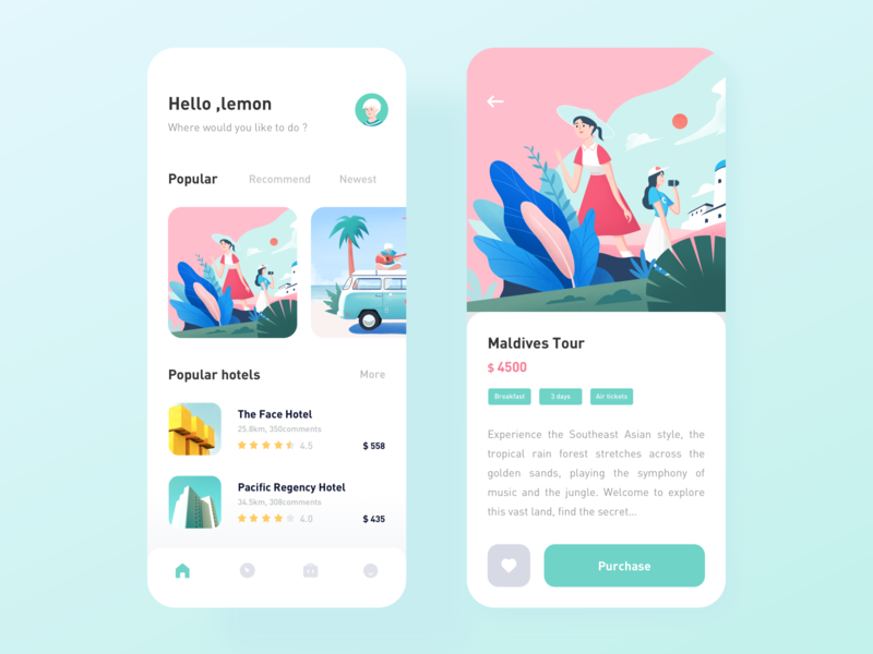 Travel App design car hotel travel illustration icon app ux ui