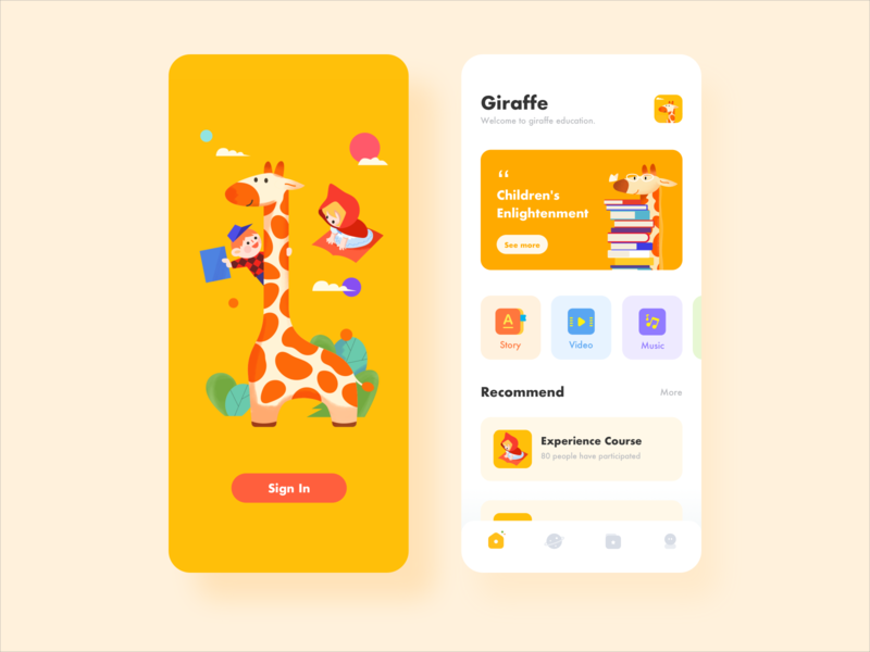 Child education sign in giraffe education child illustration icon app ux ui