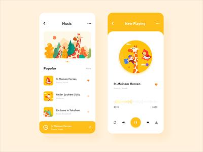 Music player giraffe music player music kids education design illustration icon app ux ui