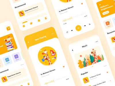Child education music player music giraffe education illustration icon design app ux ui