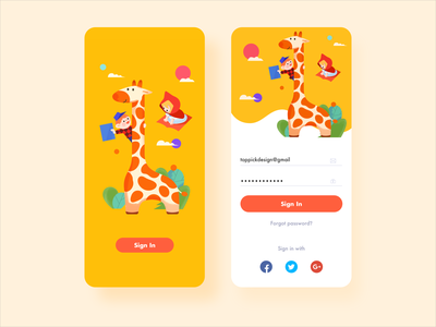 Sign In Interface story music book enlightenment sign in page sign in education giraffe icon illustration app design ux ui