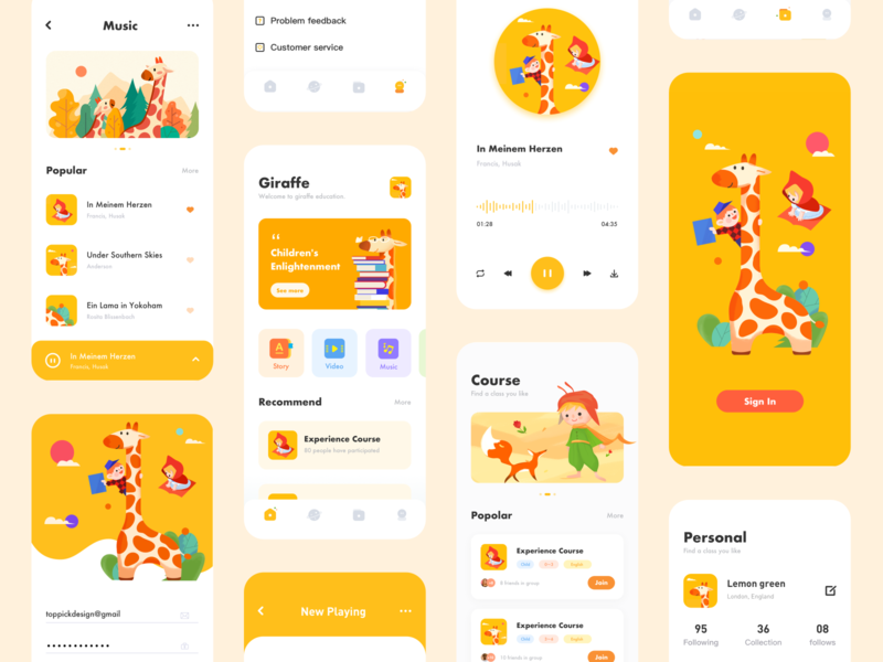 Child education sign in course children music player personal music education giraffe illustration design app ux ui