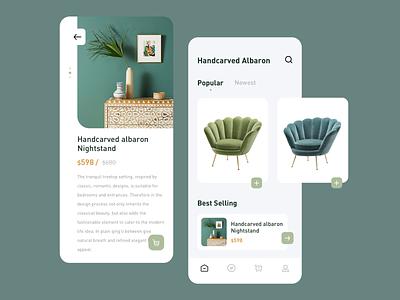Furniture app nightstand sofa design icon app ux ui