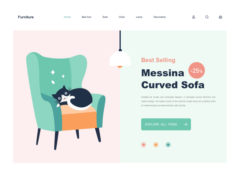Furniture web furniture website shopping lamp cat chair sofa web illustration icon design app ux ui
