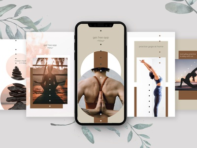 yoga class social media aftereffects lifestyle blog yoga pose design vertical mockup iphonex ui ux namaste banners ads instagram socialmedia yoga