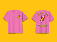 Hungry For Pizza design mock-up Pink Shirt