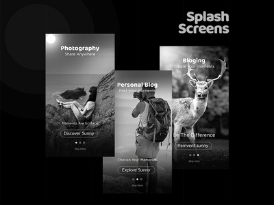 Dribbble Shots Sunny Night photo and video sharing app. walkover mobile ui app sunny ui kit bloging photography personal blog
