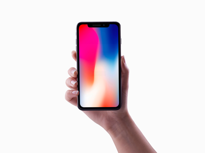 Iphone X in the hand Mockup free