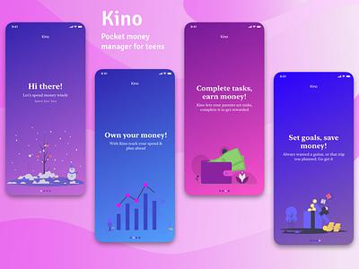 Kino - A digital pocket money manager for teens(onboarding) ui onboarding screens onboarding ui undraw ios sketchapp sketch digital wallet teenage mobile app mobile ui