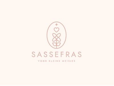 Sassefras modern design logo-design feminine pastel cute flower girl baby brand pink minimal logo