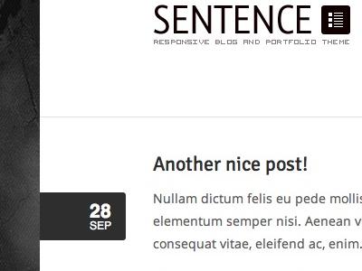 Sentence WordPress Theme Preview responsive typography wordpress layout web design logo minimal clean