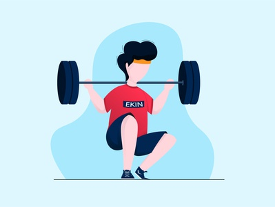weight lifting weightlifting minimal flat vector illustration design