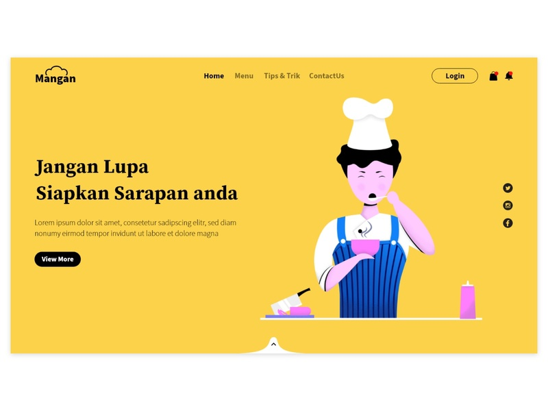 Chef Home page web design homepage web ui minimal flat vector illustration design