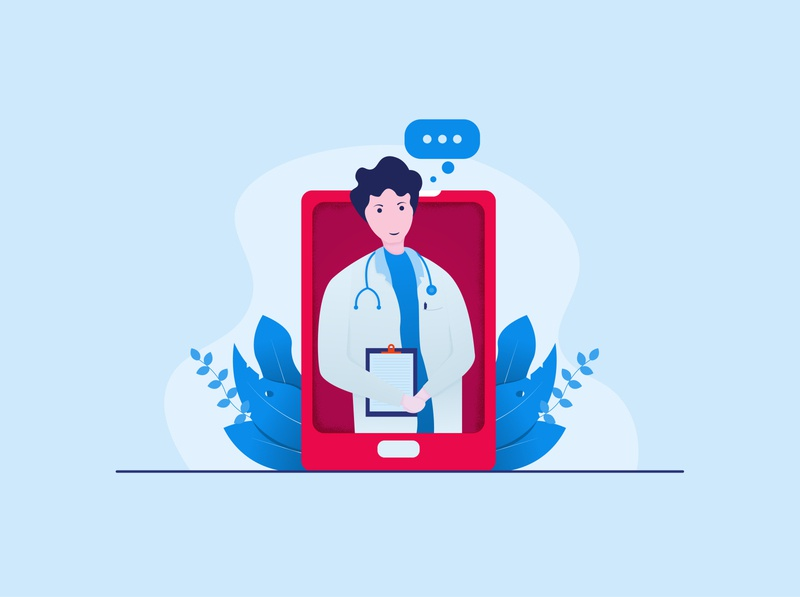 doctor brush doctor minimal flat vector illustration design