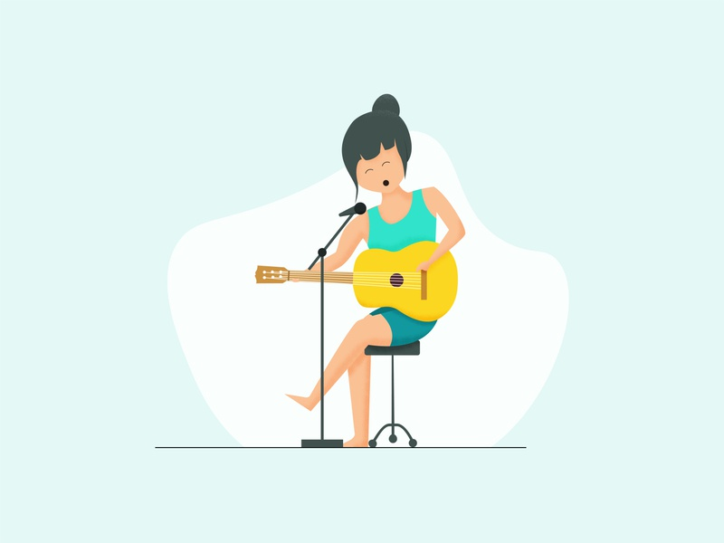Playing Guitar brushes icon minimal flat vector illustration design