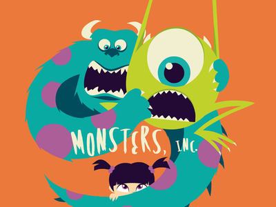 Monsters, Inc. monster inc sulley mike boo flat