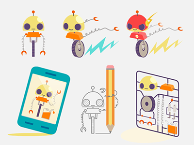 Refuel JS Mascotte refuel js javascript framework mascotte robot mobile phone flash run character