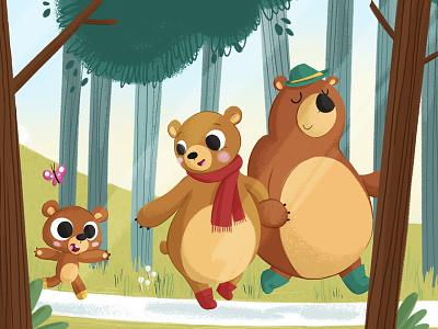 The Three Bears digital illustration family cute animal fable fairytale goldilocks children book illustration childrens book bear illustration