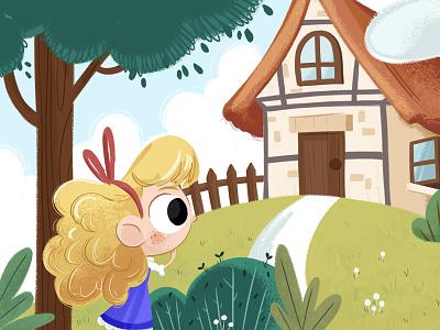 Goldilocks character design cartoon character cute art digital illustration fable fairytale kid child goldilocks children book illustration childrens book character illustration