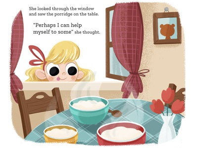 Cheeky Goldilocks digital illustration illustration home tale fairytale fable bear kids illustration kids books window breakfast kid child children book illustration childrens book goldilocks