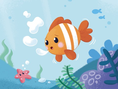 The little fish that can't make round bubbles childrens illustration character design character kids illustration kids book geometry childrens book illustrations ocean sea bubbles nemo clownfish cute fish fish