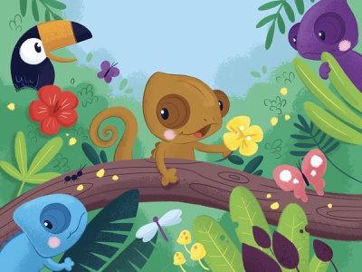 The chameleon that can't change colours digital illustration childrens illustration childrens book kids illustration flower butterfly toucan jungle book cute art character design characters chameleon character kid illustration
