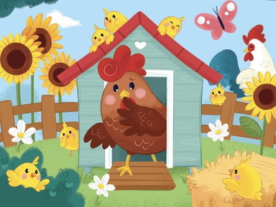 The hen who's lost her nice chicks counting sunflower roaster kids illustration childrens illustration childrens book cute illustration cute animal chick chicken farm hen character kid illustration