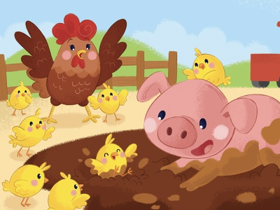 Mud Party cute animal character design kids art childrens illustration childrens book fun muddy pig chicken hen chick farm animal character kid illustration