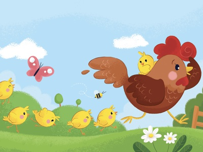 Run! character design mum runner run cute animal cute illustration nature illustration farm chick chicken hen kids art children book illustration childrens illustration illustration