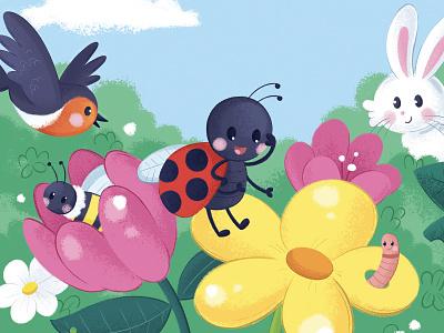 Ladybird garden character design cute animal kids book kids art childrens illustration nature ladybug ladybird character kid illustration