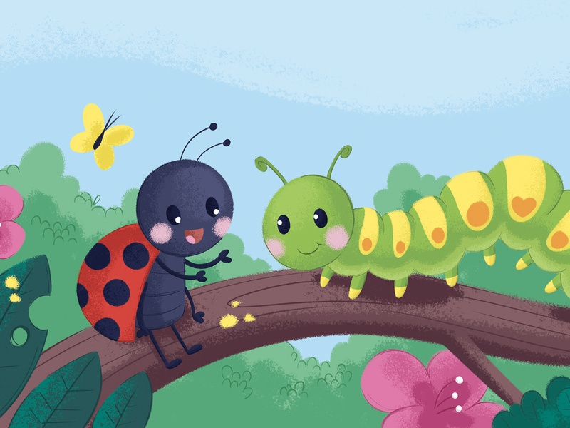The ladybird who's lost without her friend character design cute animals cute animal kids art children book illustration childrens illustration nature caterpillar ladybird ladybug kid character illustration