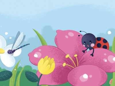 Lost friend missing friend childrens illustration children book illustration kids book flower garden nature logo ladybird ladybug character design character kid illustration