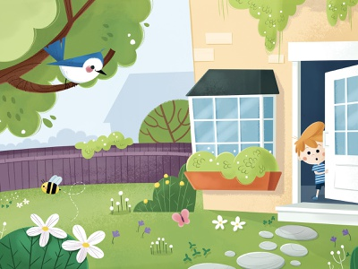Max child childrens book house illustration bee bird character design character kids garden spring kids illustration kids book childrens illustration picture book