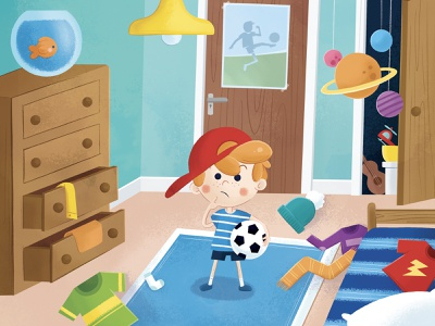 Where is my T-Shirt? character design bedroom design fish picturebook kids book football bedroom children book illustration childrens book childrens illustration child character kid illustration