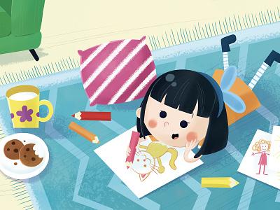 Mei milk cookies carpet drawing girl children book illustration childrens book character design childrens illustration child character kid illustration