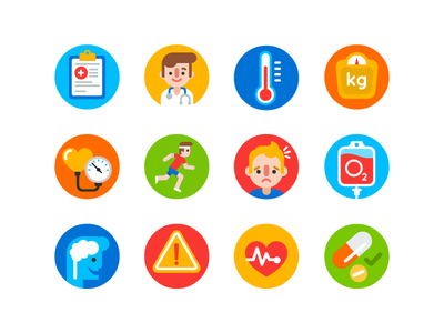 Medical Icons brain pain pill pressure blood weight temperature heart health doctor medicine icon