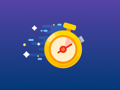 Time flat icon over star run stopwatch clock time