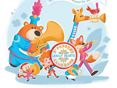 Sgt Pepper's Lonely Hearts Club Band bird kid giraffe fox penguin monkey bear music band animal beatles