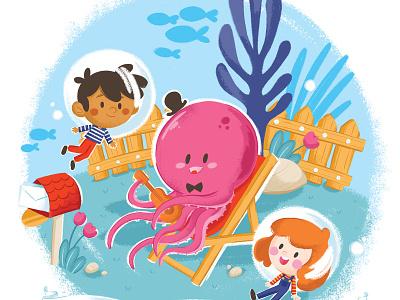 Octopus's Garden fish play sing guitar ocean sea garden octopus kid children illustration beatles