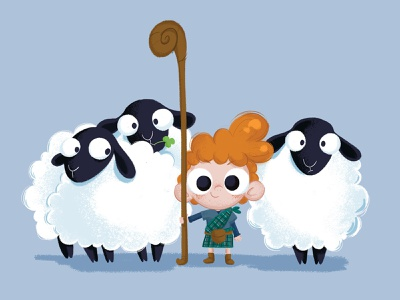Boy and Sheep red hair character design character illustration scottish highlands kilt scotland shepherd sheep kid boy